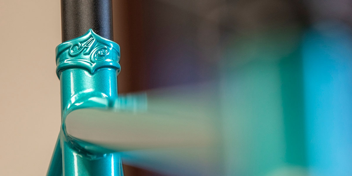 Teal All-City Cycles Super Professional Apex 1 bike frame details view