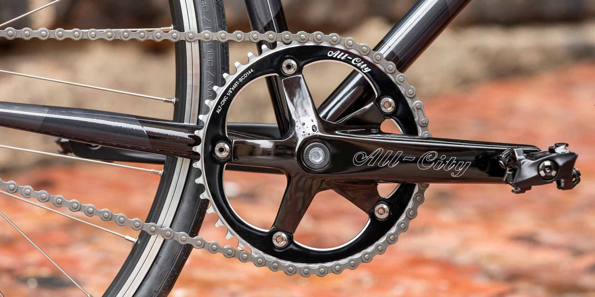 Gray and black All-City Cycles Big Block bike drive side crank view