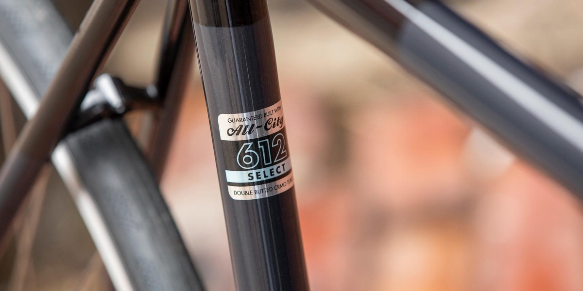 Gray and black All-City Cycles Big Block bike seat tube with 612 Select Tubing decal