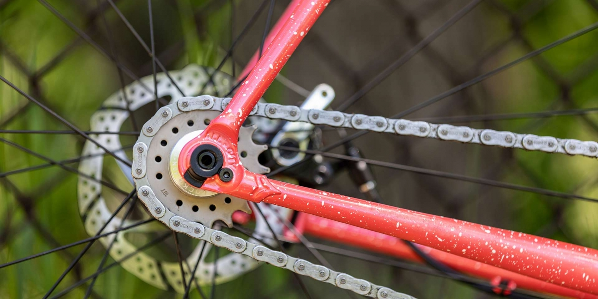 Close-up of drive-side rear dropout, cog, and chain of Nature Cross Single Speed Pink Lemonade bike