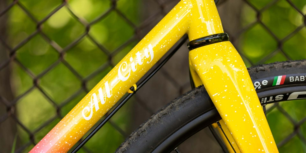 Close-up of All-City logo on down tube, head tube and down tube weld, lower headset cup and fork crown of Nature Cross bike