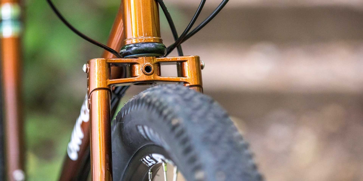 Copper All-City Cycles Gorilla Monsoon Adventure bike frame and tire view