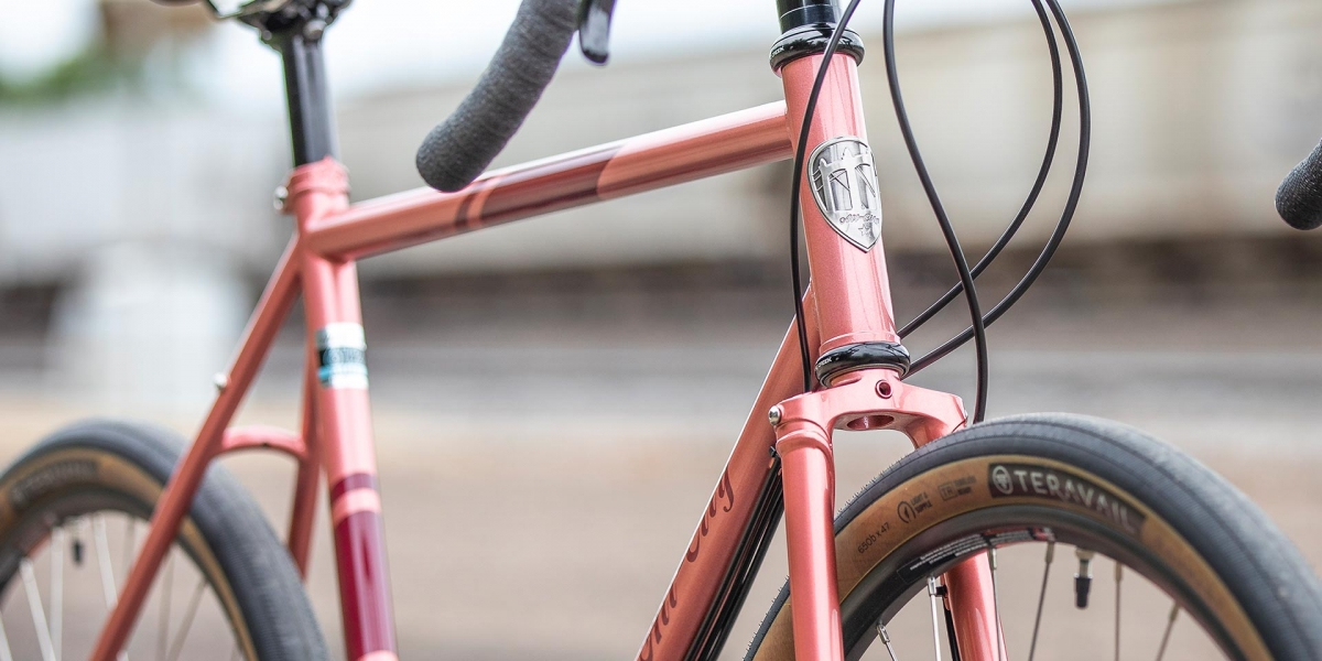 All-City Cycles Space Horse Pink Road Touring Bike frame view