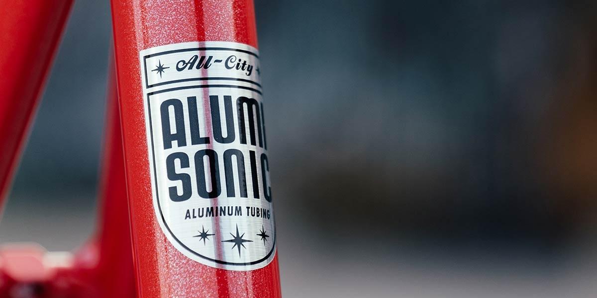 Red All-City Thunderdome bike Alumasonic Tubing decal on seat tube