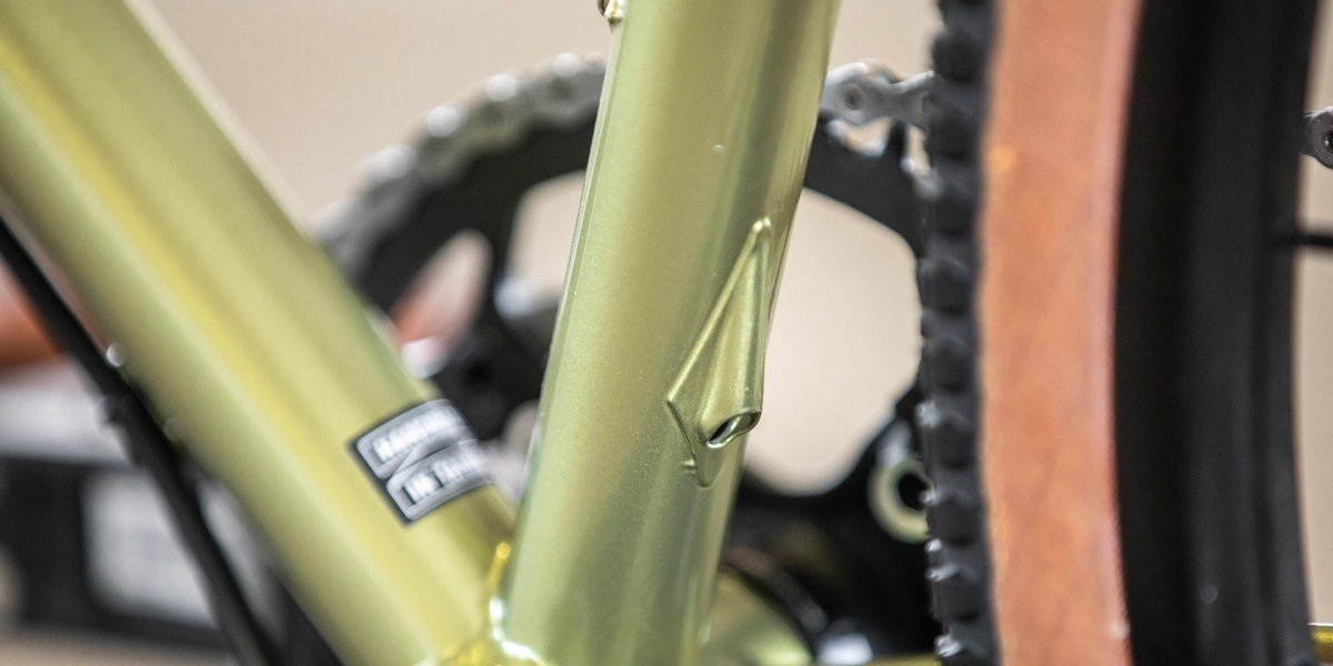 All-City Cycles Super Professional Apex 1 Flash Basil seat tube detail showing dropper post cable routing