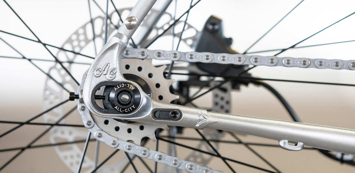 All-City Cycles Super Professional Single Speed Quicksilver bike, drive-side rear dropout detail