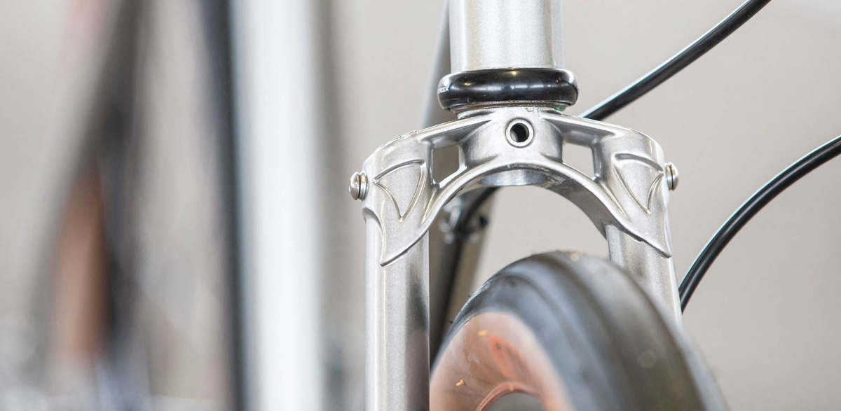 All-City Cycles Super Professional Single Speed Quicksilver detail view of fork crown