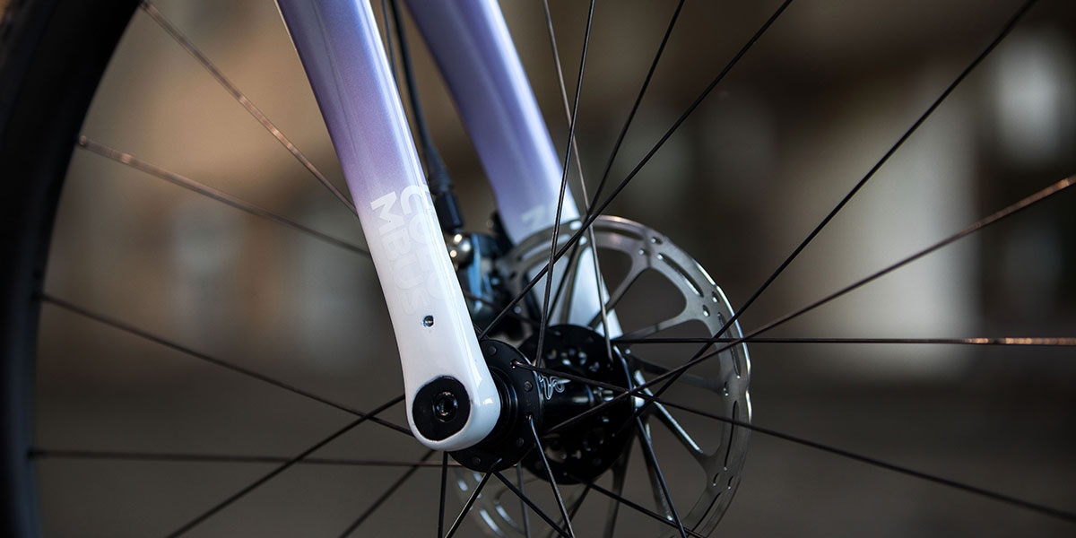 Purple All-City Cycles Cosmic Stallion Force 1 bike wheel frame view