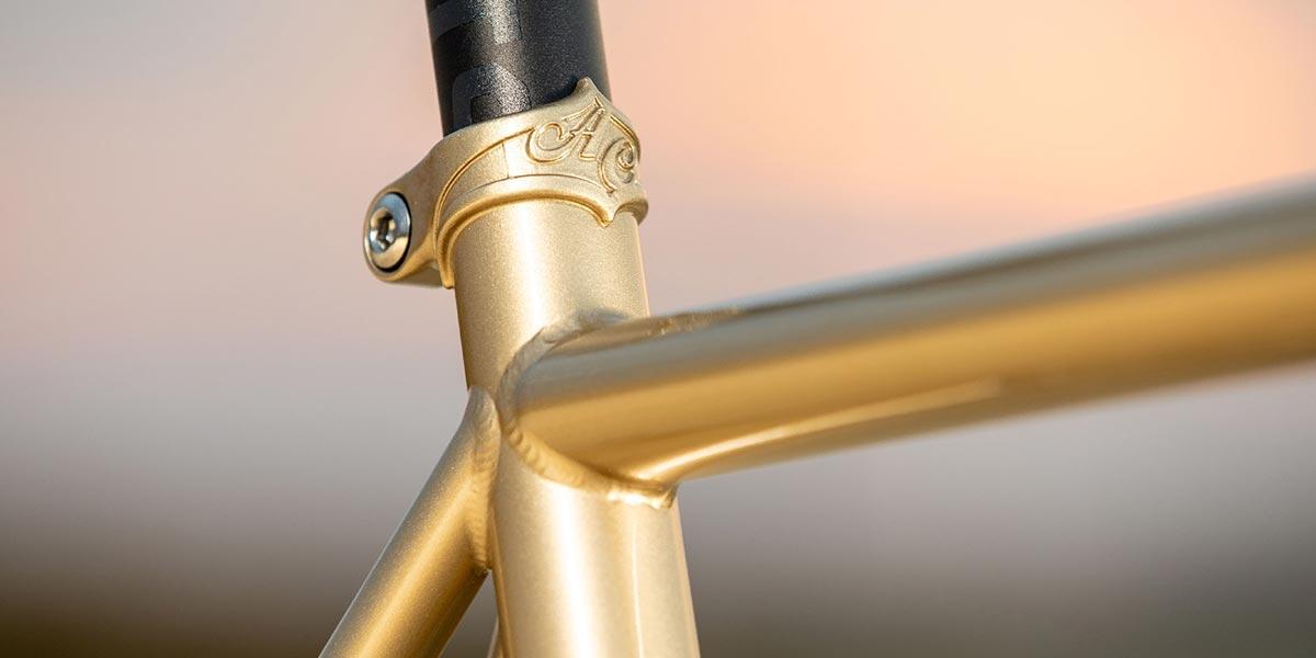 Cosmic Stallion seat tube/ toptube detail and brazed-on seatpost collar