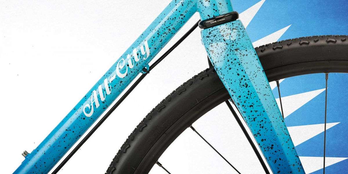 Blue All-City Nature Cross Single Speed bike front frame view
