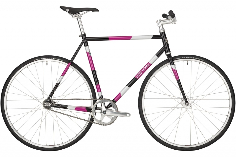 Pink, white, and black All-City Cycles Big Block bike full frontal view on white background