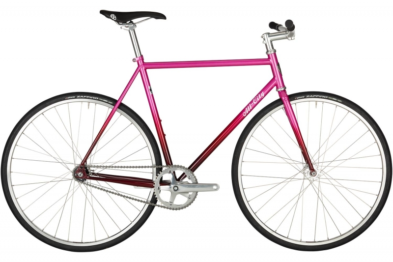 All-City Big block pink bike against white background