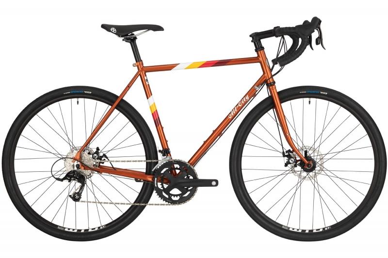 Space horse orange bike against white background
