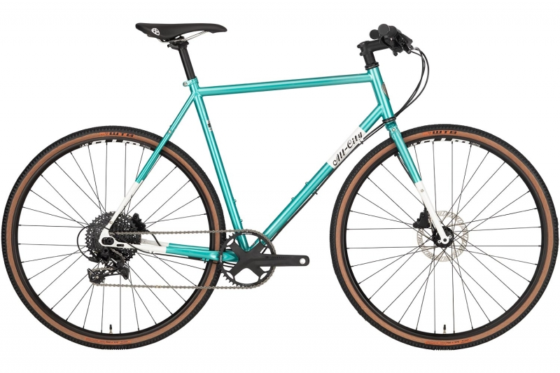 Teal All-City Cycles Super Professional Apex 1 bike full-frontal view with white background