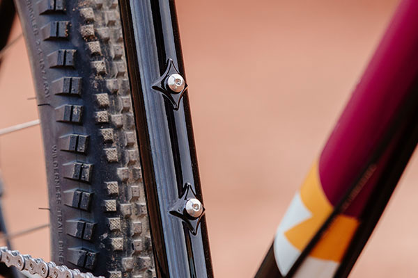 Reinforced water bottle bosses on complete Gorilla Monsoon bike
