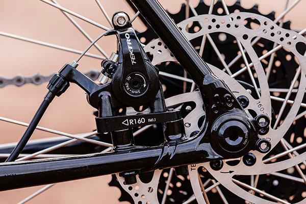 Non-drive-side rear dropout of complete Gorilla Monsoon bike showing flat mount