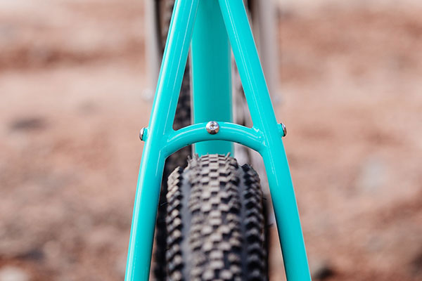 Rear view of complete Gorilla Monsoon showing tire clearance of seatstay and bridge