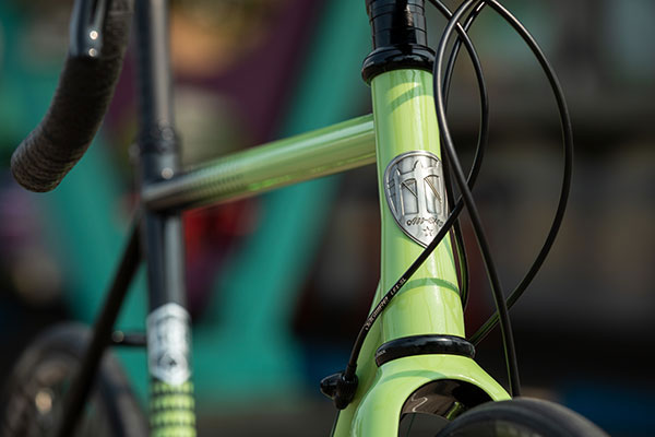Close-up of paint detail on Zig Zag complete bike showing fork crown and headtube