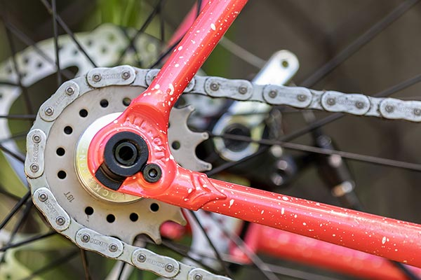 Close-up of drive-side rear dropout, cog, and chain of Nature Cross Single Speed bike