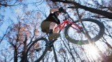 Nathan Choma jumps bike in the woods