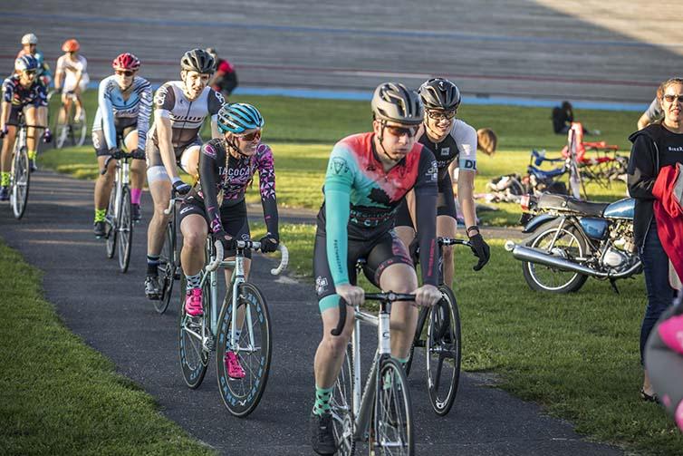 Velodrome final day racers line up
