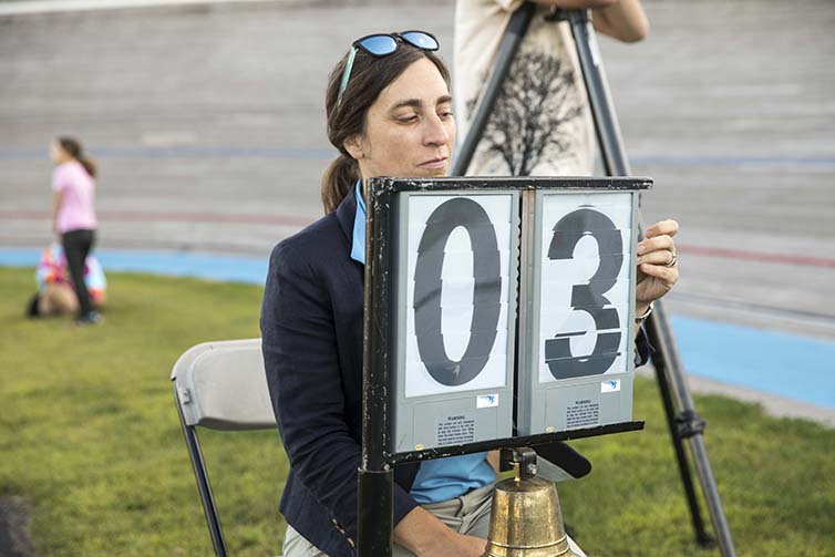 Person shows miles on the final day of Velodrome