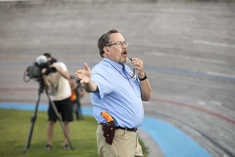Officiant blows race whistle on the final day of Velodrome