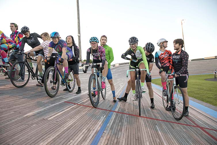 Full team lines up for race on the final day of Velodrome