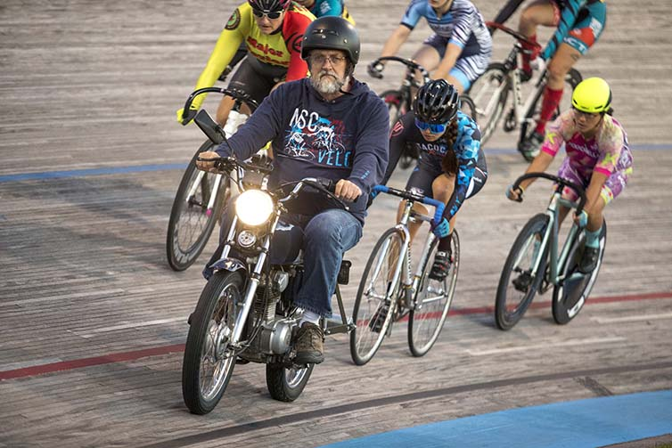 Velodrome final day motor cycle riding