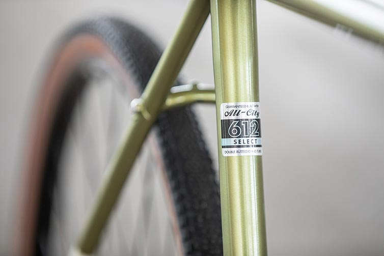 All-City Super Professional bike 612 Select Tubing decal on seat tube of Apex 1 Flash Basil colorway