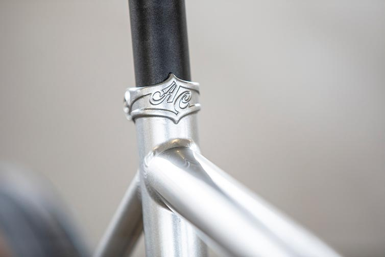 All-City Super Professional braze-on seat collar detail on Single Speed Quicksilver colorway