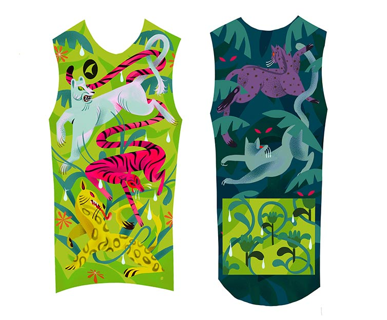 Night Claw illustrated jersey designs, big cats in different colors and patterns with jungle leaves