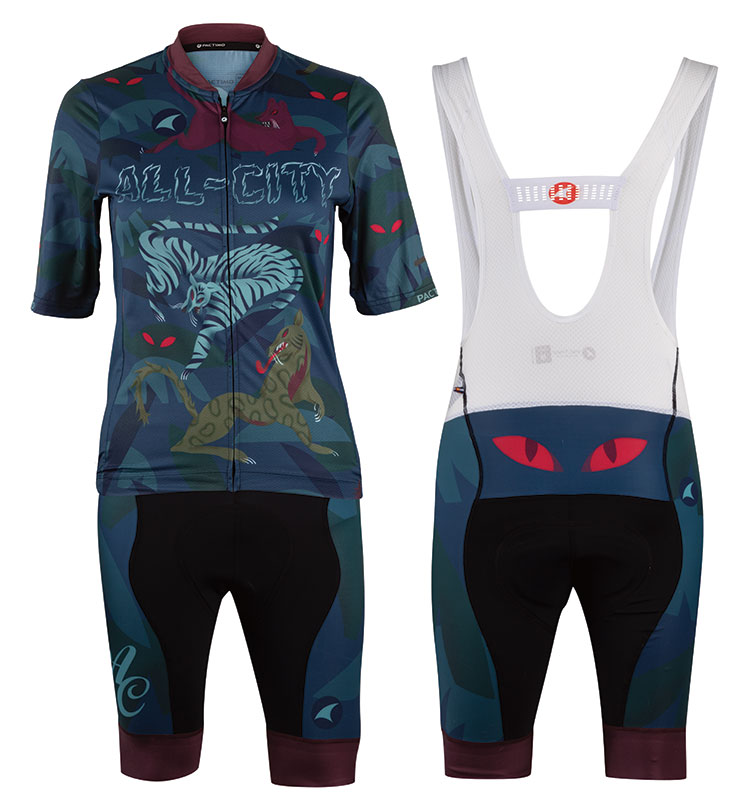 All-City Night Claw Jersey and Bib Shorts showing illustrated design, no model and on white background
