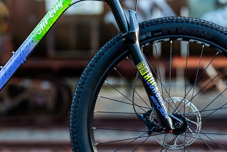 All-City Electric Queen Mountain Bike - detail of frame and fork