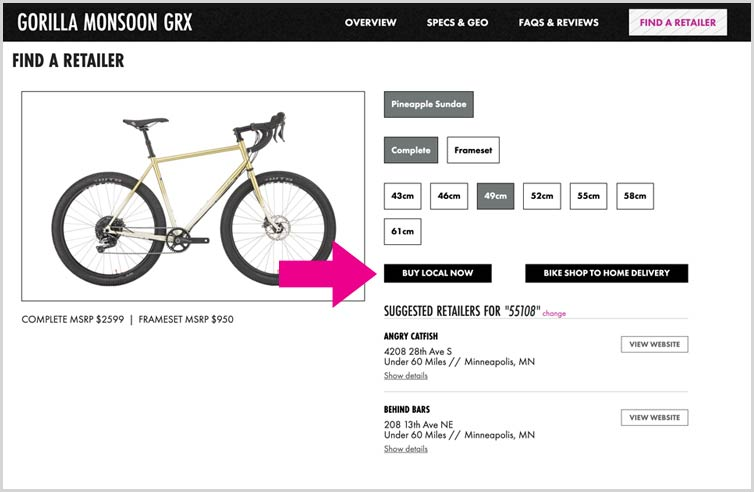 Gorilla Monsoon GRX procut detail page with arrow pointing to Buy Local Now button