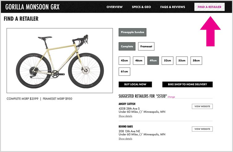 Gorilla Monsoon GRX product detail page and find a retailer button with arrow pointing to it