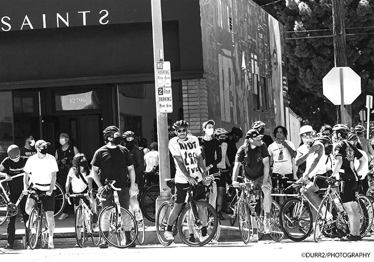 Ride for Black Lives cyclists gathered on street corner
