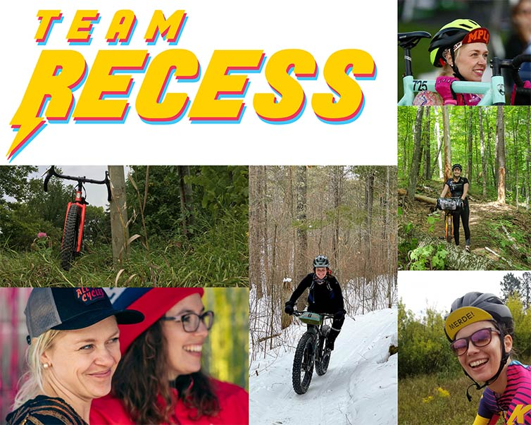 Team Recess, collage of cyclists in wooded singletrack, snowy singletrack, hanging out, racing and riding