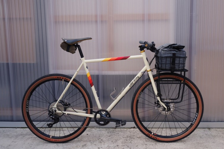 A photo of a bicycle with white background
