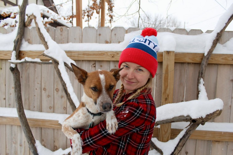 Dog and Girl in Hat
