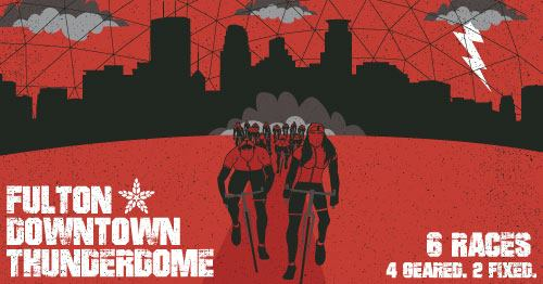 a bicycle poster with red background