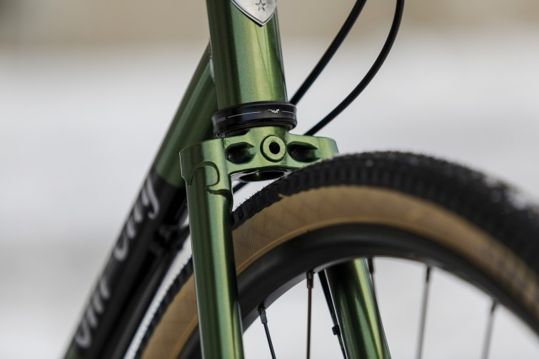 A close up of bike frame in neon green