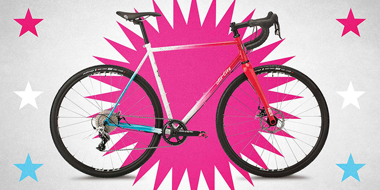 A bicycle with hot pink background
