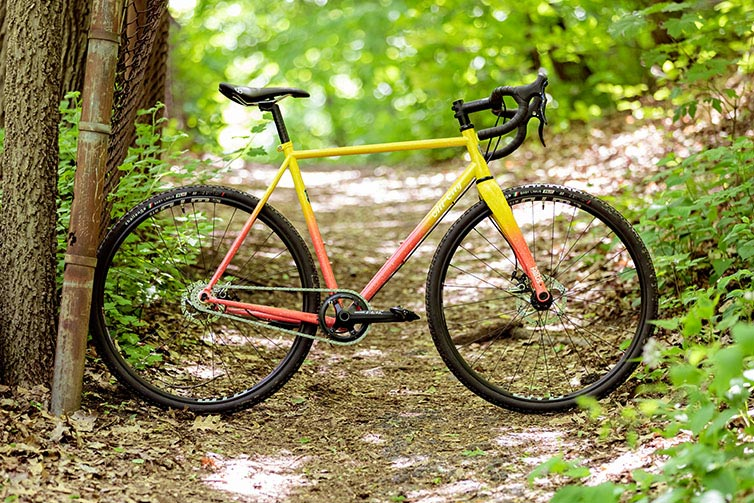Nature Cross Single Speed Pink Lemonade bike side view on forest path