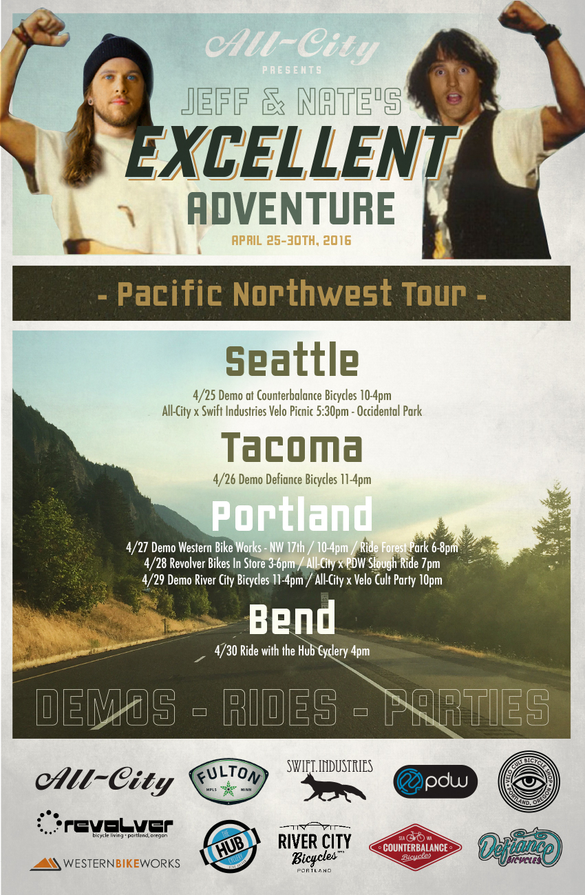 Jeff & Nate's Excellent Adventure: All-City Pacific Northwest Tour April 25-30th 2016