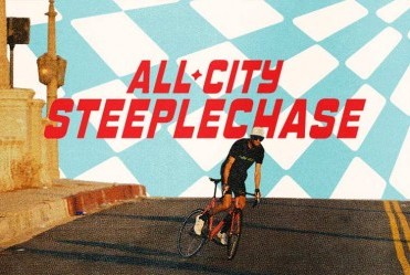 All-City Steeplechase - cyclist on empty city street doing skid on fixed gear track bike with blue and white checked background