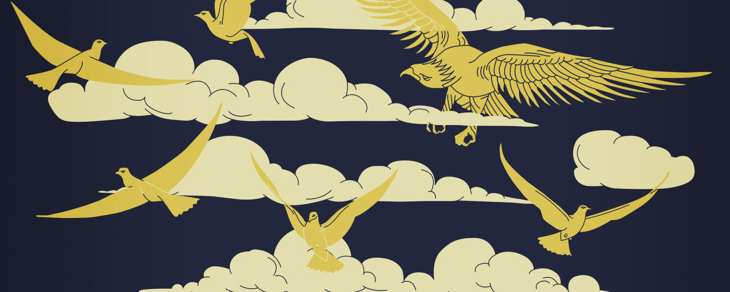 Navy background with gold birds and clouds pattern