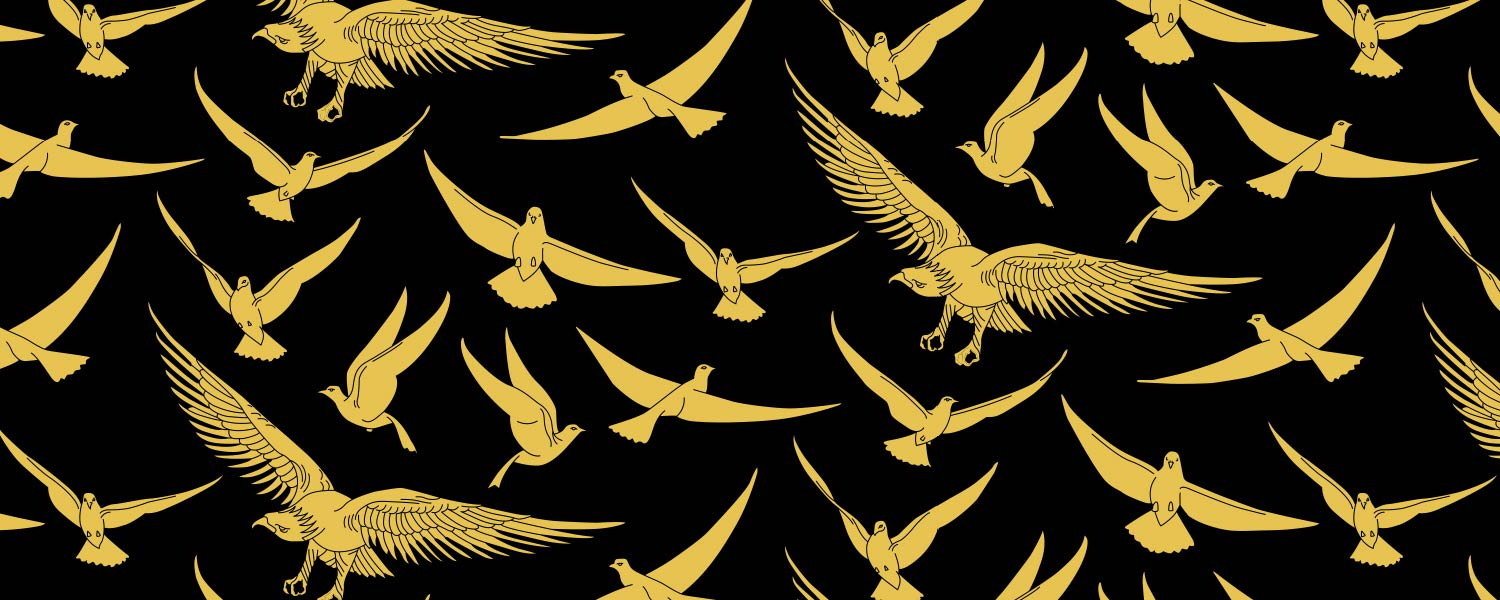 Gold bird pattern over black background