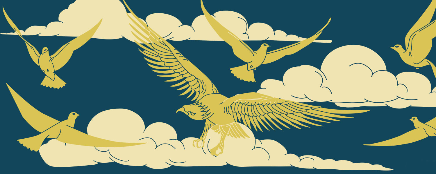 Blue background with white clouds and gold bird pattern