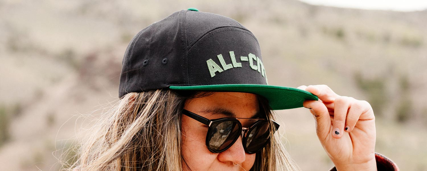 Person wearing sunglasses and All-City Logowear Wool Hat outside